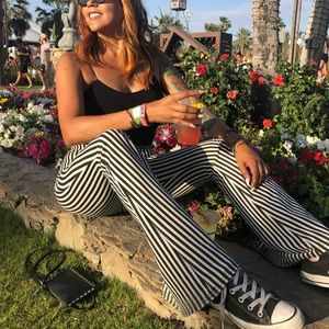 NastyGal Black and White Striped Flare Pants